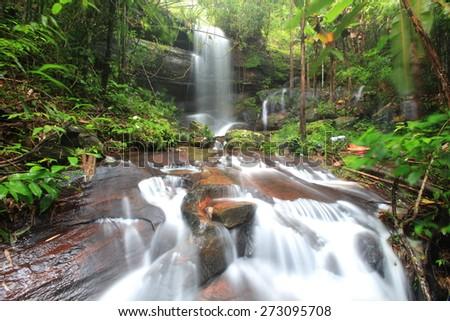 Deep forest waterfall,Phu hin ronkla National park,Petchabun,Thailand - stock photo