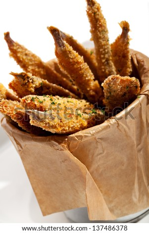 Deep Fried Anchovies with Sauce - stock photo