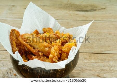 Deep fried banana and corn thai style - stock photo