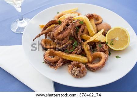 Deep fried calamari and french fries potatoes - stock photo