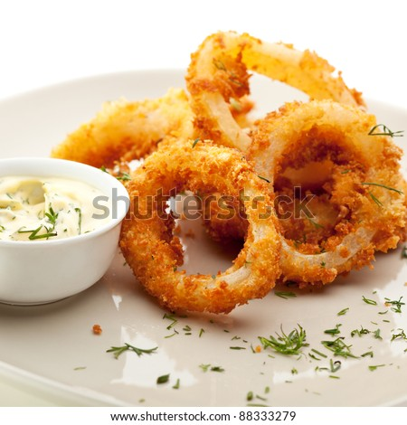 Deep Fried Calamari Rings with Sauce Bowl - stock photo