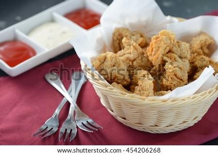 Deep fried chicken balls serve with sauce  - stock photo