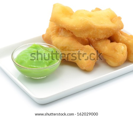 Deep-fried dough stick and Steamed custard - stock photo