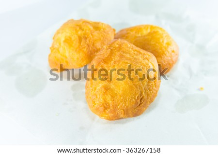 deep fried dough stick on white background, fried bread - stock photo