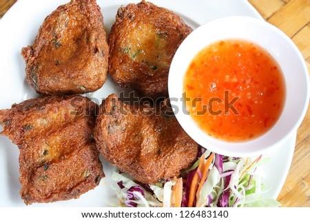 deep-fried  Fish Cake (Tod Mun Pla) - stock photo