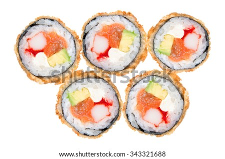 Deep-fried Japanese roll with crab meat, salmon, avocado, caviar, crispy breading  isolated on white background - stock photo