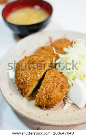 Deep fried pork with cabbage set , Tonkatsu , Japanese style food - stock photo