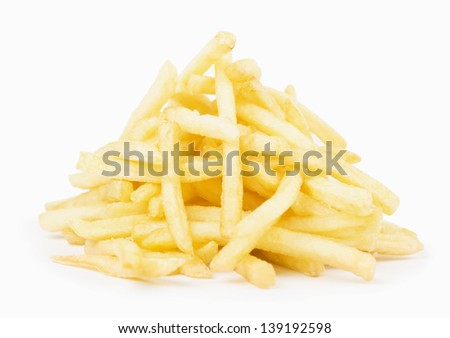 deep-fried potatoes isolated