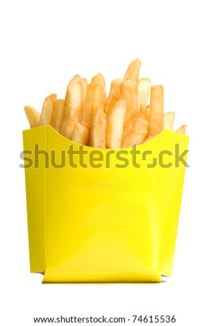 deep-fried potatoes isolated on a white