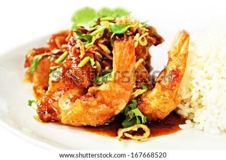 Deep fried prawns in Tamarind sauce with steam rice - Thai food - stock photo