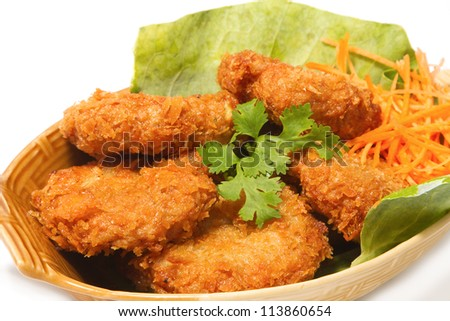 deep-fried shrimp cakes on white background