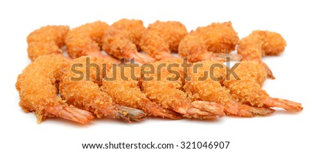 deep fried shrimps on white background