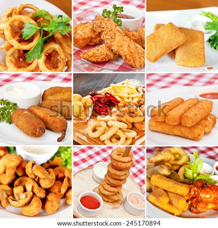 Deep-fried snacks collage including deep-fried squid rings, chicken breasts, mozzarella cheese sticks, champignon mushrooms and jalapeno chili peppers - stock photo