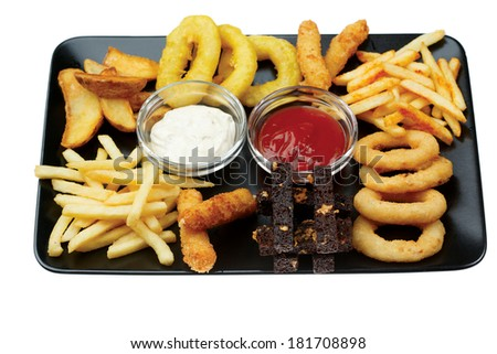 Deep fried snacks. squid rings - stock photo