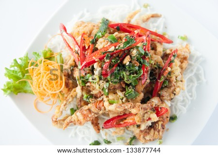 Deep fried soft shell crab. Thai style food. - stock photo