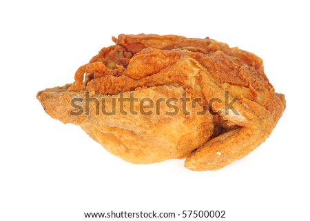 Deep Fried Whole Chicken On White Background