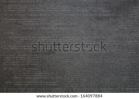 Deep gray textured background with code elements - stock photo