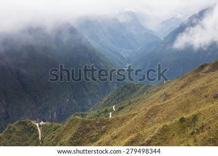 Deep huge canyon river gorge, Nepal mountains ridge, Himalaya. - stock photo