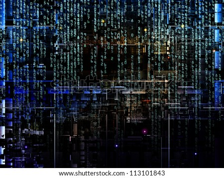 Deep Networking series. Composition of industrial grunge texture, numbers and dark gradients with metaphorical relationship to computing, industrial design and modern technology
