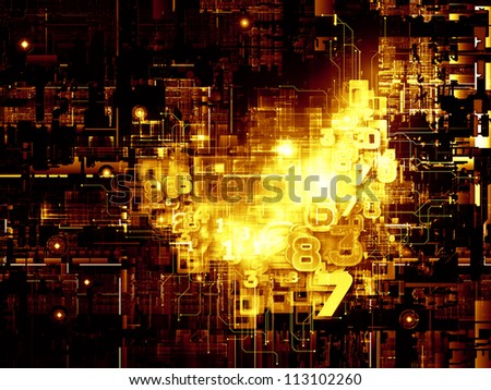 Deep Networking series. Design made of industrial grunge texture, numbers and dark gradients to serve as backdrop for projects related to computing, industrial design and modern technology - stock photo