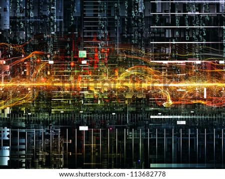 Deep Networking series. Visually pleasing composition of industrial grunge texture, numbers and dark gradients to serve as background for subjects as computing, industrial design and modern technology - stock photo