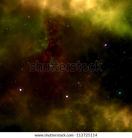 Deep outer space gas cloud nebula and stars - stock photo