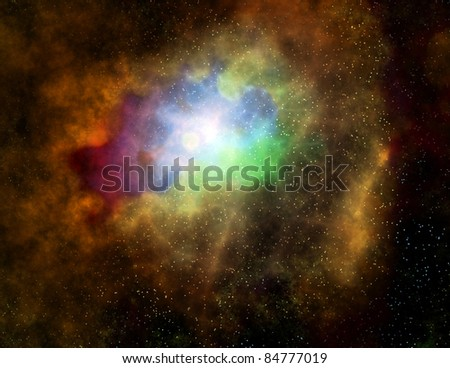 deep outer space gas cloud nebula galaxy and stars