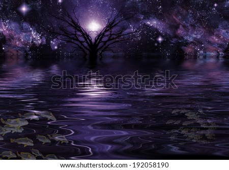Deep Purple Fantasy Landscape - stock photo
