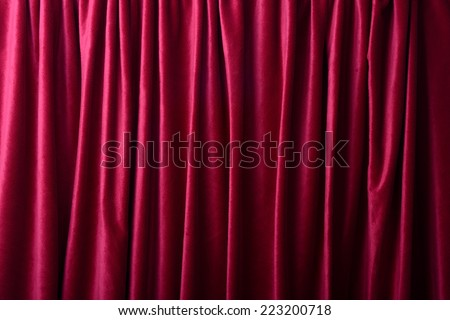 Deep red curtains as a background or texture - stock photo