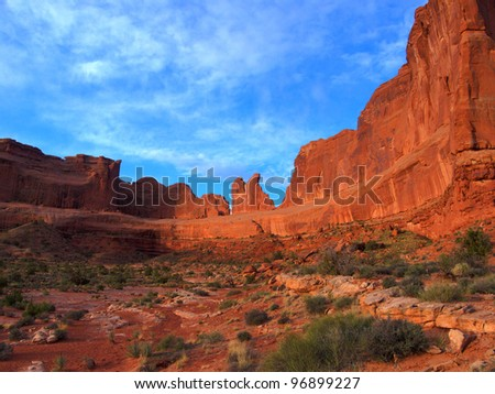 Deep red rock and blue sky color at Arches National Park in the desert Southwest