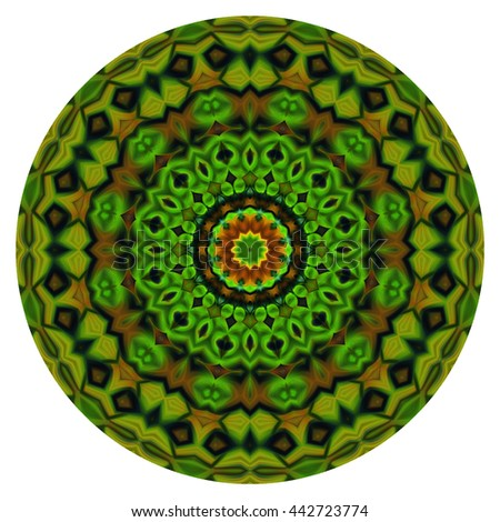 Deep rich green color kaleidoscope circle oval orb twist twirl design pattern background backdrop red yellow black white - stock photo