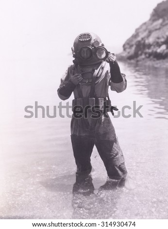Deep sea diver - stock photo