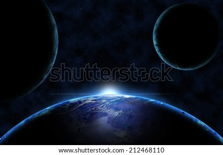 Deep space imaginary planets with sun glow - stock photo