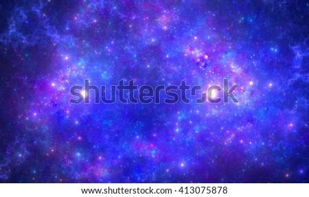 Deep space nebula with stars. - stock photo