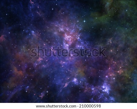 Deep Space series. Composition of nebula, stars and colors suitable as a backdrop for the projects on astronomy, science, space and religion - stock photo
