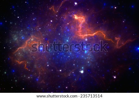 Deep space starfield with nebula. - stock photo