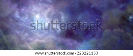 Deep space wide blue banner showing Nebula system and cloud formation  - stock photo