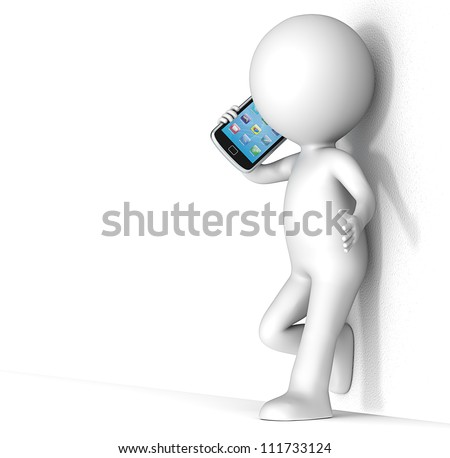Deep Talk. 3D little human character leaning against a rough wall, talking on a Smartphone. People series. - stock photo