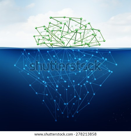 Deep web and hidden internet technology as dark website in cyberspace underground search engines as a data symbol for the deepnet as a network group of connected geometry shaped as an iceberg icon. - stock photo