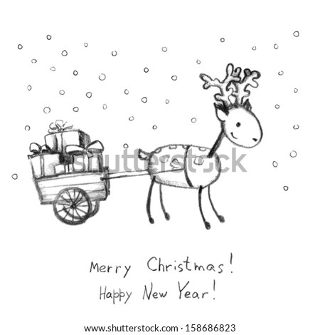 Deer and sledge with presents - greeting card