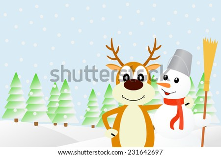 Deer and the snowman.