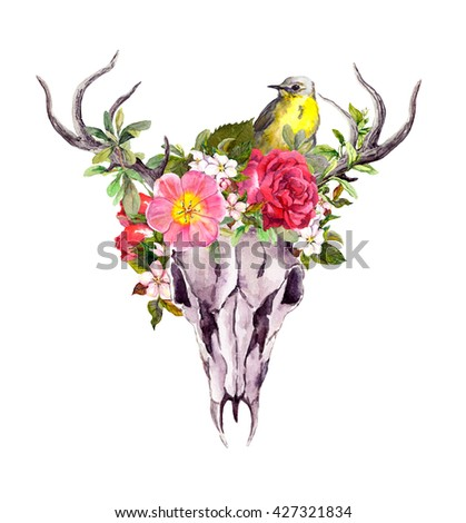 Deer animal skull with flowers and bird. Watercolor - stock photo