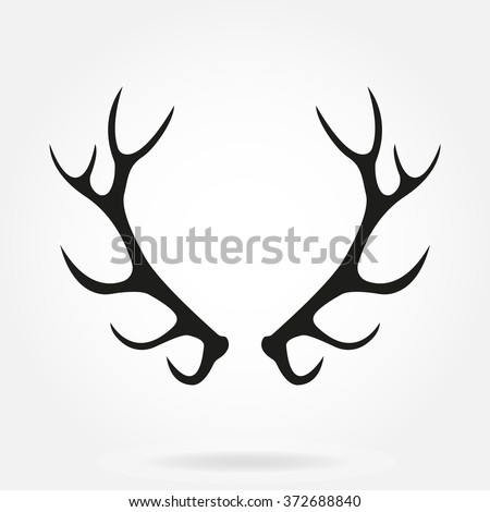 Deer antlers. Horns icon on white background. Black horns silhouette. - stock photo