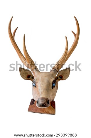 Deer head wooden craft isolated on white background. - stock photo