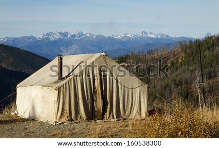 Deer Hunting C& in the Mountains with an old canvas wall tent and a wood stove & Deer Hunting Camp Mountains Old Canvas Stock Photo 160538300 ...