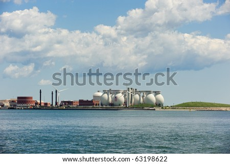 Deer Island with its two windmills in horizontal - stock photo