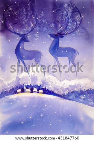 Deer on night ,winter sky.Picture created with watercolors