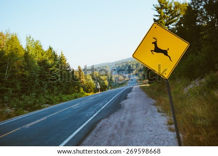 Deer Sign on a country road in Canada