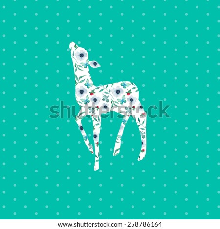 Deer silhouette with floral pattern on polka dot background. Hand drawn raster vintage illustration. Natural poster, baby deer print with flowers - stock photo