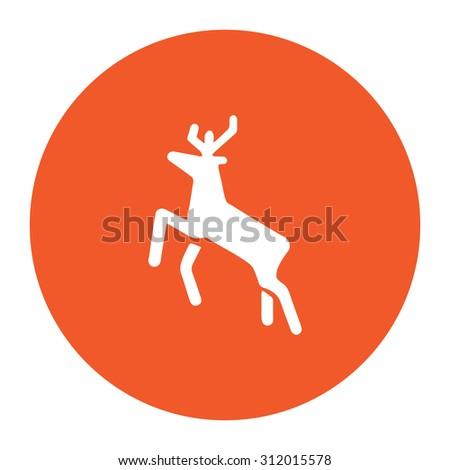 Deer. Simple flat white icon in the orange circle. illustration symbol - stock photo